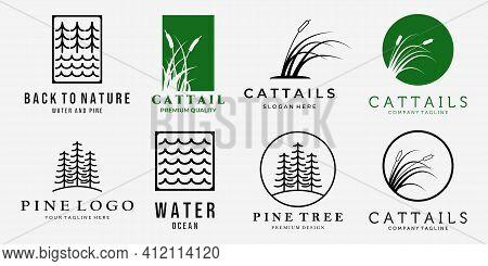 Set Bundle Of Cattails Reeds Creeks Pine Forest Line Art Vintage Vector Logo, Illustration Design Of