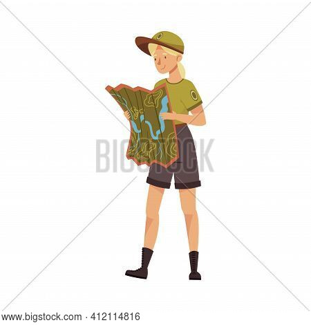 Blond Female As Park Ranger In Khaki Cap And Shorts Examining Map Of Local Area Vector Illustration