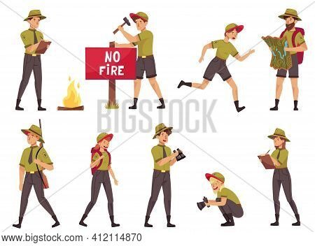 People Characters As Park Ranger Or Forest Rangers Protecting And Preserving National Parklands Vect