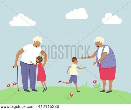 Happy Grandparents Met Their Grandchildren. The Children Are Glad That They Saw Their Grandparents.