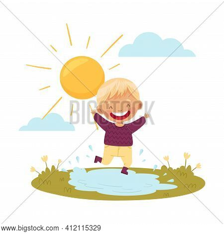 Cute Boy In Rubber Boots Jumping In Puddle Enjoying Spring Warm Sun Vector Illustration