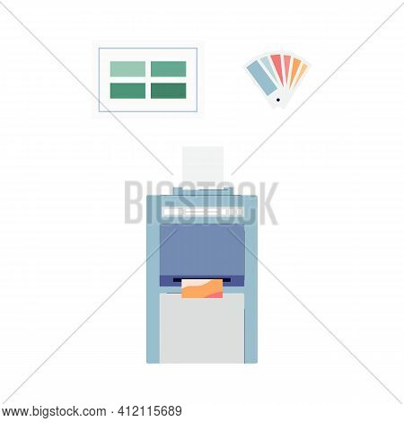 Typography Print Plotter Machine Symbol Flat Vector Illustration Isolated.