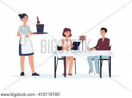 Waiter Serving People At Restaurant Table, Cartoon Waitress Woman