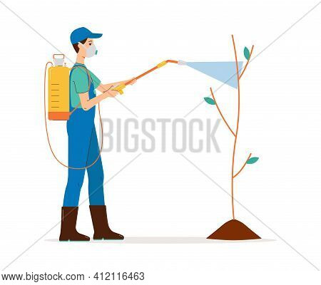 Male Farmer In A Protective Mask Spraying Pesticide On Tree A Vector Illustration