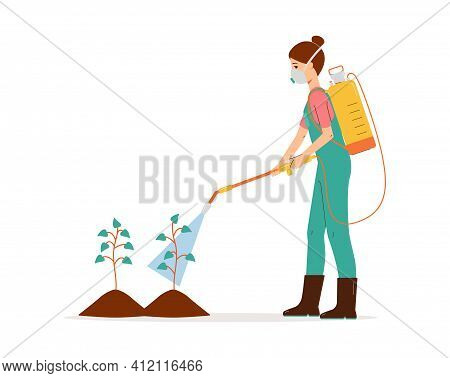 Person Spraying Chemical Pesticide On Plants. Cartoon Agriculture Worker