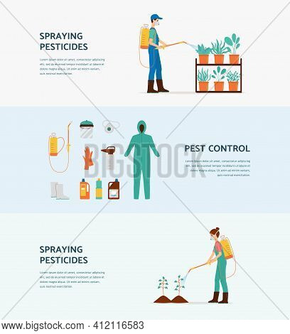 Pesticide Spraying Banner Set - Pest Control Workers Treating Plants