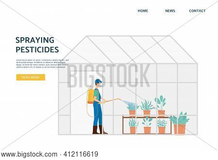 Pesticide Spraying Banner, Agriculture Worker With Plants In Greenhouse