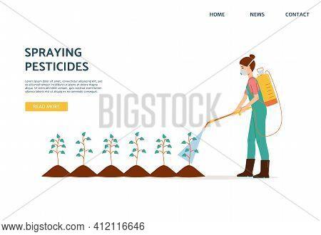 Spraying Pesticides Website With Farmer Spraying Pesticide, Vector Illustration.