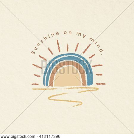 Positive quote cute illustration sunshine on my mind summer social media post