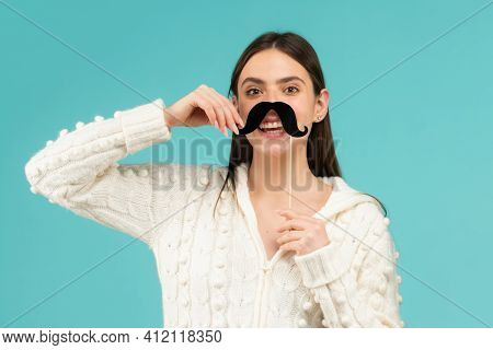 Photo Booth Party. Fake Mustache On Stick. Happy Woman Holding Mustache And Smiling
