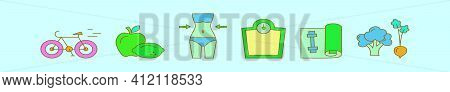 Set Of Slimming Cartoon Icon Design Template With Various Models. Modern Vector Illustration Isolate