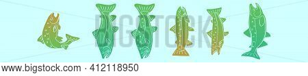 Set Of Rainbow Trout Cartoon Icon Design Template With Various Models. Modern Vector Illustration Is