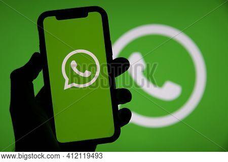 London, Uk - March 2021: Whatsapp Online Messaging Service Logo On A Smartphone