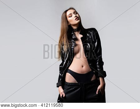 High Fashion Look, Glamor Sexy Beautiful Young Woman Model In Summer Bright Colorful Hipster Clothes