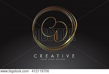 Handwritten Cd C D Golden Letters Logo With A Minimalist Design. Cd C D Icon With Circular Golden Ci