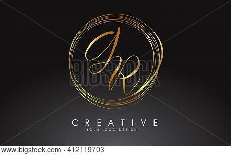 Handwritten Gr G R Golden Letters Logo With A Minimalist Design. Gr G R Icon With Circular Golden Ci