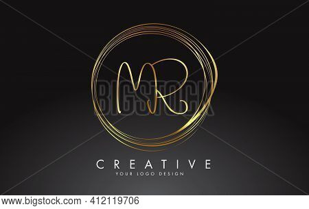 Handwritten Mr M R Golden Letters Logo With A Minimalist Design. Mr M R Icon With Circular Golden Ci