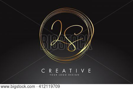 Handwritten Ls L S Golden Letters Logo With A Minimalist Design. Ls L S Icon With Circular Golden Ci