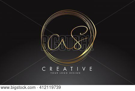 Handwritten Ws W S Golden Letters Logo With A Minimalist Design. Ws W S Icon With Circular Golden Ci