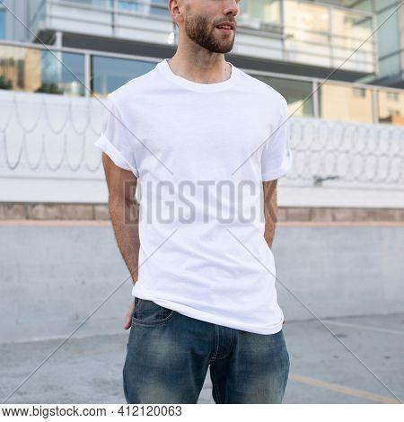 Basic white t-shirt men's fashion apparel outdoor shoot
