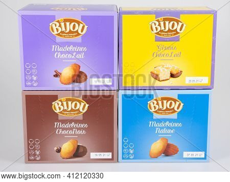 Bordeaux , Aquitaine France - 03 08 2021 : Bijou Logo Brand And Text Sign On Boxes Madeleines In Fre