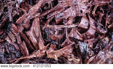 Helpful Treats For Pets. Dried Beef Lungs. Full Frame Of Dried Treat Pieces. Beef Jerky For Dogs. To