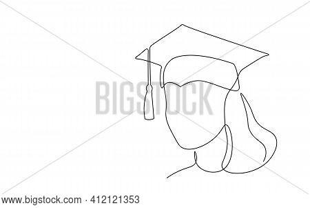 Single Continuous Line Art Graduation Cap. Celebration Ceremony Master Degree Academy Graduate Desig