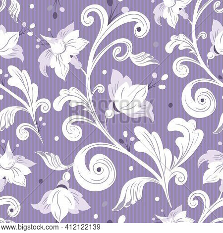 Rococo Floral Seamless Pattern.white Flowers, Leaves On Lilac Background.damask Ornament