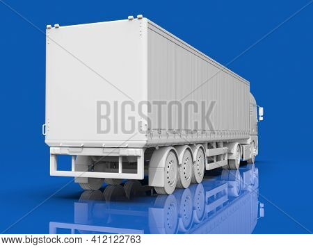 MockupAbstract HeavySemi TrailerTruck Isolated on Blue,Transportation Vehicle, Delivery Transport TIR, EuroCargo Logistic Concept,Freight Shipping, International Delivering Industry,3D Render