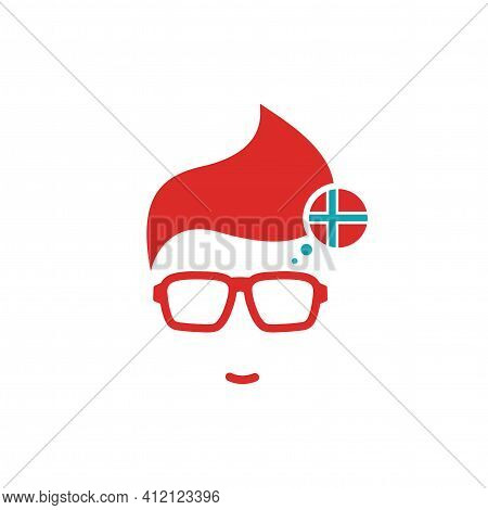 Silhouette Of Man's Head In Hipster Glasses And Norway Flag In Circle. Red Simple Avatar. Norwegian