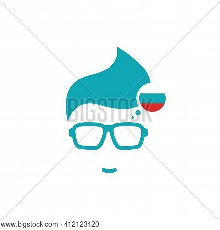 Silhouette Of Man's Head In Hipster Glasses And Russian Flag In Circle. Blue Simple Avatar. Russian