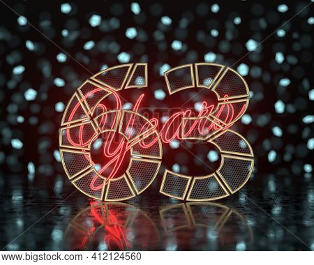 Golden Number Sixty-three (number 63) Cut Into Perforated Gold Segments With  Inscription Years With