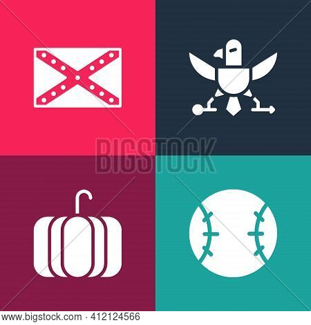 Set Pop Art Baseball Ball, Pumpkin, Eagle And Flag Confederate Icon. Vector
