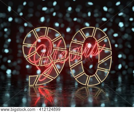 Golden Number Ninety (number 90) Cut Into Perforated Gold Segments With  Inscription Years With A Ba