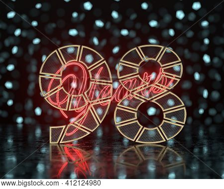 Golden Number Ninety-eight (number 98) Cut Into Perforated Gold Segments With  Inscription Years Wit