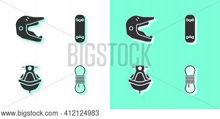 Set Climber Rope, Motocross Motorcycle Helmet, Jet Ski And Skateboard Trick Icon. Vector