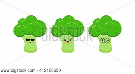 Cute Broccoli Funny Cartoon Vegetable Food Icon Set Isolated On White Background. Character Smile Wi