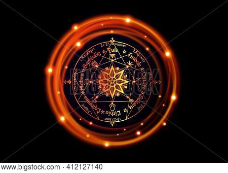 Wheel Of The Year Is An Annual Cycle Of Seasonal Festivals, Enneagram By Many Modern Pagans. Wiccan