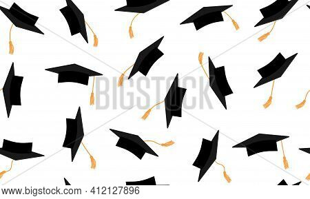 Seamless Pattern Of Flying Black Square Academic Caps With Gold Tassel. Graduation. Beautiful Mortar