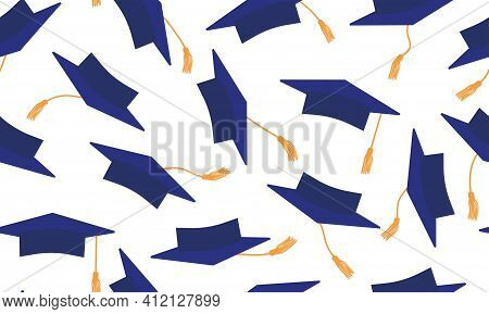 Throwing Of Dark Blue Mortarboard On White Background. Seamless Pattern Of Square Academic Caps. Gra