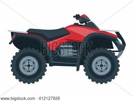 Quad Bike Isolated In Side View. Four-wheeled Motorcycle In Flat Style - Isolated Icon Transportatio