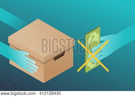 Free Shipping - Free Of Charge Delivery Web Banner. Hand Giving Parcel Box, And Other Hand With Cros