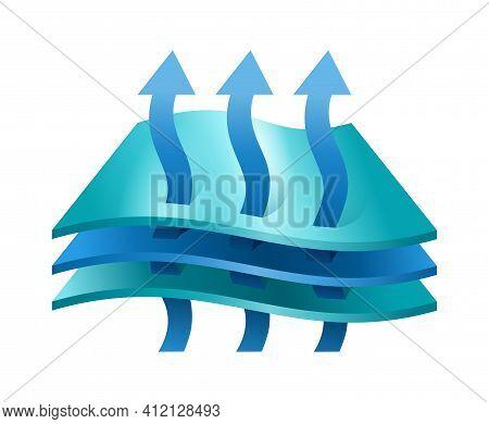Breathable Membrane Textile 3d Pictogram - Arrows Which Symbolizing Airflow Passing Through Fabric M