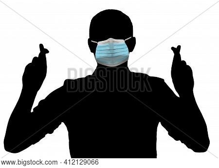 3d Illustration, 3d Rendering. Male Activist In Facial Mask Holding Fingers Crossed And Praying. Cro