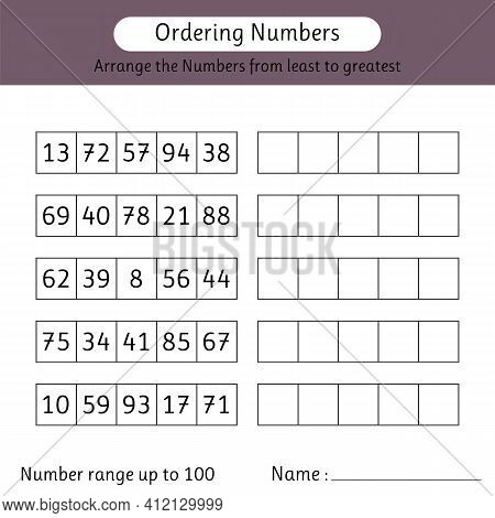 Ordering Numbers Worksheet. Number Range Up To 100. Arrange The Numbers From Least To Greatest. Math