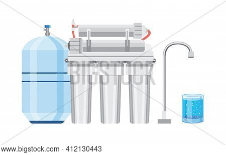 Set Of Modern Water Filters A Flat Vector Isolated Illustration.