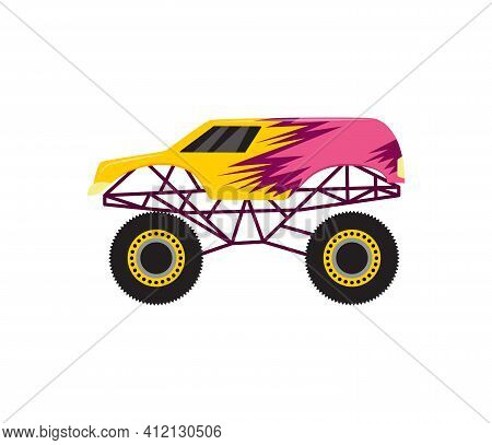 Cartoon Monster Truck Heavy Vehicle 4x4 With Big Wheels A Vector Illustration.