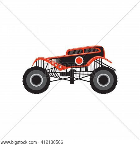 Fancy Cartoon Icon Of Monster Truck Flat Vector Illustration Isolated On White.
