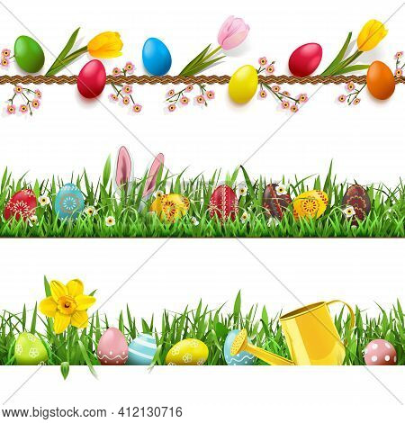Vector Easter Borders Set 2 Isolated On White Background