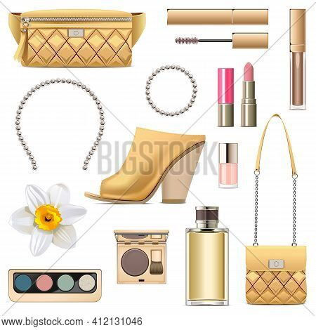 Vector Spring Female Accessories Set 6 Isolated On White Background